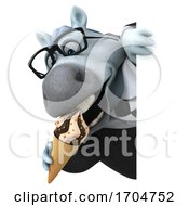 Poster, Art Print Of 3d Chubby White Business Horse On A White Background