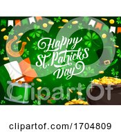 Patricks Day Holiday Pot Of Gold And Clover Leaves