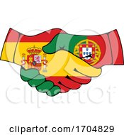 Poster, Art Print Of Portugal And Spain Coat Of Arms Handshake