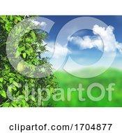 3D Pear Tree Against A Defocussed Grassy Landscape