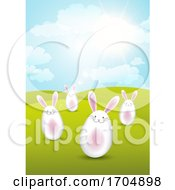 Poster, Art Print Of Easter Bunnies In Sunny Landscape