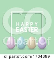 Poster, Art Print Of Easter Background With Pastel Eggs On White Frame