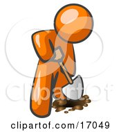 Orange Man Using A Shovel To Dig A Hole For A Plant In A Garden Clipart Illustration
