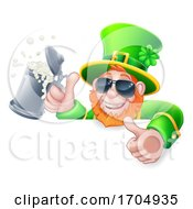 Leprechaun St Patricks Day Cartoon In Shades Sign