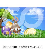 Easter Bunny Rabbit Breaking Out Of Egg Cartoon