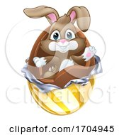 Easter Bunny Rabbit Breaking Chocolate Egg Cartoon
