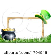 St Patricks Day Leprechaun Hat Pot Of Gold Sign