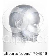 Poster, Art Print Of Cyber 3d Technology Face Digital Tech Ai Head