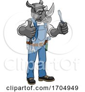 Poster, Art Print Of Rhino Electrician Handyman Holding Screwdriver