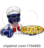 Panther Pizza Chef Cartoon Restaurant Mascot Sign