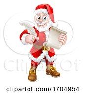 Poster, Art Print Of Santa Claus Quill Pen Scroll Letter Cartoon