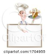 Poster, Art Print Of Cartoon Kebab Chef Menu Board