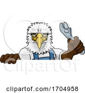 Poster, Art Print Of Eagle Plumber Or Mechanic Holding Spanner