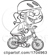 Lineart Cartoon Girl Riding A Bike
