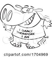 Lineart Cartoon Dancing Hippo