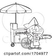 Lineart Cartoon Hot Dog Vendor Boy