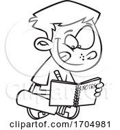 Lineart Cartoon Boy Writing Notes