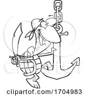 Lineart Cartoon Pirate Turtle Swinging On An Anchor