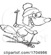 Lineart Cartoon Skiing Dog