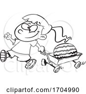 Lineart Cartoon Girl Pulling A Watermelon In A Wagon
