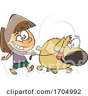 Clipart Cartoon Girl Walking A Dog