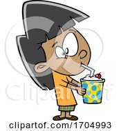 Clipart Cartoon Girl Drinking A Milkshake by toonaday