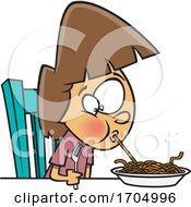 Poster, Art Print Of Clipart Cartoon Girl Sucking Up A Spaghetti Noodle