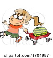 Clipart Cartoon Girl Pulling A Watermelon In A Wagon
