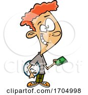 Clipart Cartoon Boy Buying Time by toonaday