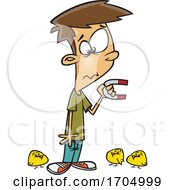 Clipart Cartoon Boy Holding A Magnet And Attracting Chicks