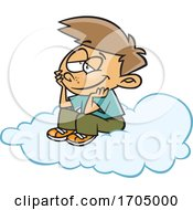 Clipart Cartoon Boy Daydreaming On A Cloud