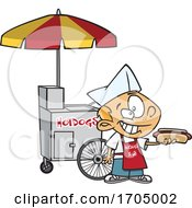 Clipart Cartoon Hot Dog Vendor Boy by toonaday