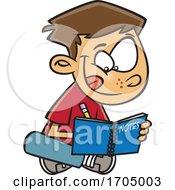 Clipart Cartoon Boy Writing Notes