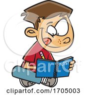 Clipart Cartoon Boy Writing Notes by toonaday
