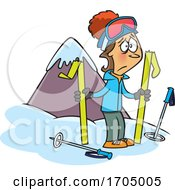 Clipart Cartoon Woman With Broken Skis