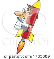 Clipart Cartoon Rocket Scientist Clinging In Fear
