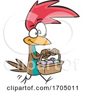 Poster, Art Print Of Clipart Cartoon Easter Chicken Carrying A Basket