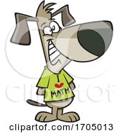 Clipart Cartoon Dog Wearing An I Love Math Shirt by toonaday