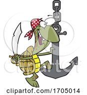 Clipart Cartoon Pirate Turtle Swinging On An Anchor