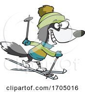 Clipart Cartoon Skiing Dog by toonaday