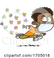 Clipart Cartoon Boy Wearing A Mask And Running From Germs