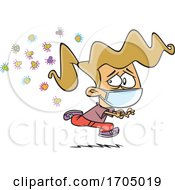 Clipart Cartoon Girl Wearing A Face Mask And Running From Germs by toonaday