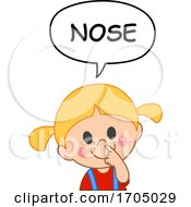 Girl Pointing To Her Nose