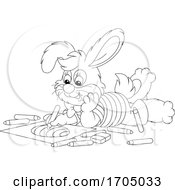 Poster, Art Print Of Bunny Rabbit Coloring An Easter Egg