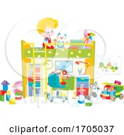 Poster, Art Print Of Boy Playing On His Bunk Bed