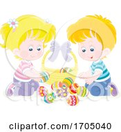 Poster, Art Print Of Children With Easter Eggs And A Basket