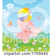 Poster, Art Print Of Cute Elephant Playing With A Ball
