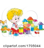 Poster, Art Print Of Boy Playing With Blocks