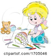 Poster, Art Print Of Girl Coloring An Easter Egg