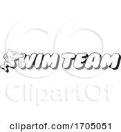 Clipart Cartoon Black And White Sea Creature Swim Team Design